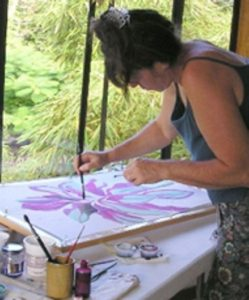 patti painting silk with wax