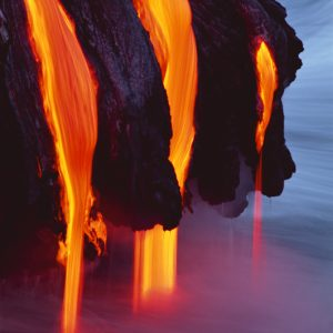 Lava Flowing into Pacific Ocean Kilauea Volcano Hawaii