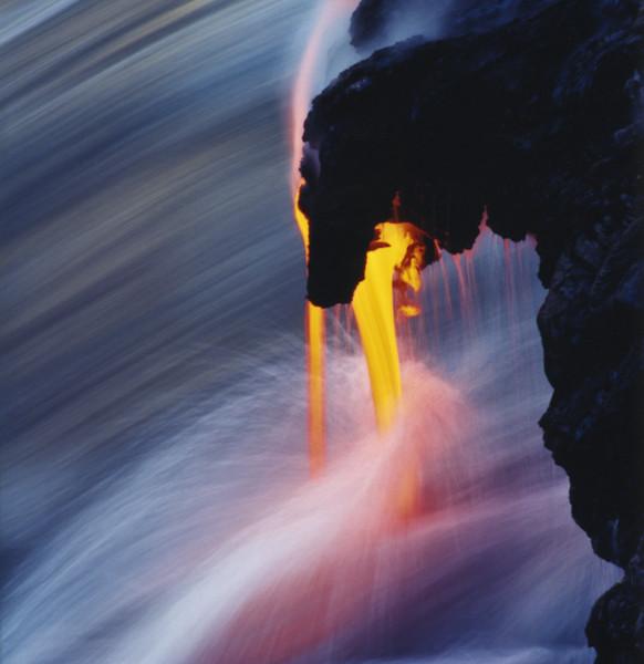 Lava Flowing into Pacific Ocean Kilauea Volcano Hawaii