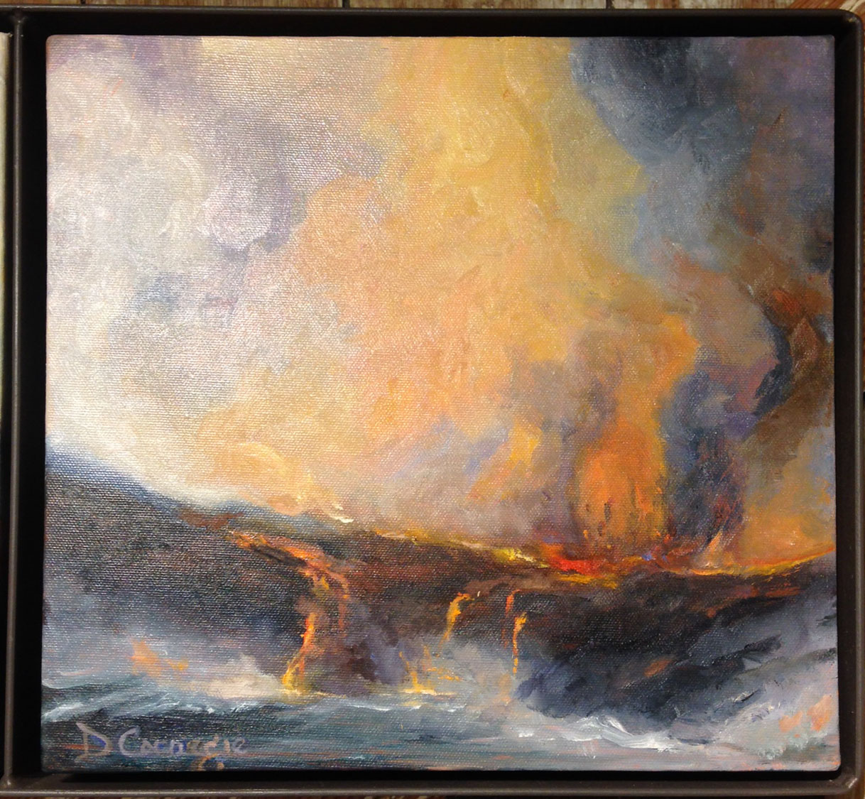 Earth, Smoke, and Fire, Original Oil Painting by D ... Earth Painting Oil