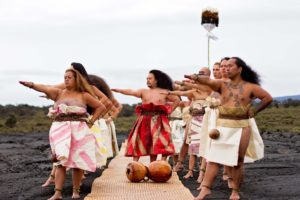Hālau Na Kipuʻupuʻu under the direction of Kumu hula Micah Kamohoaliʻi photo by Aniku Chong