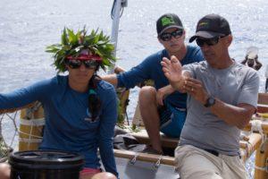 Crew members aboard Hōkūleʻa