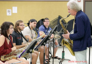 Sax legend Lou Marini coaches the UH Hilo Jazz Orchestra prior to the concerts
