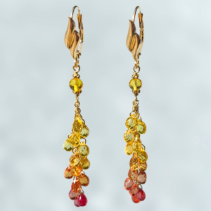 Molten Flow Sapphire Cascade Earrings by Daniel E. Rockovitz