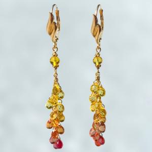 Molten Flow Sapphire Cascade Earrings by Daniel E. Rockovitz
