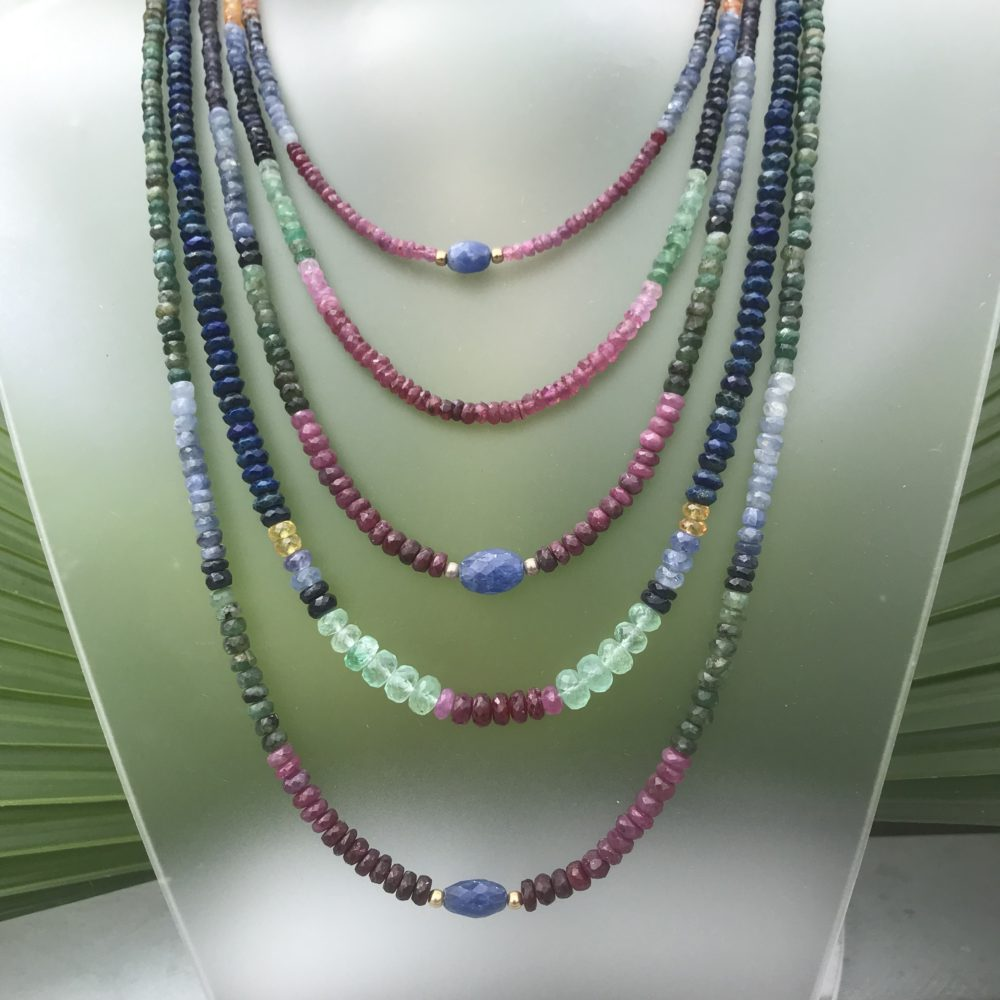 Sapphire, ruby and emerald faceted bead necklaces by Pat Pearlman