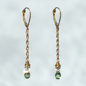 Green Flash Sapphire Drop Earring
