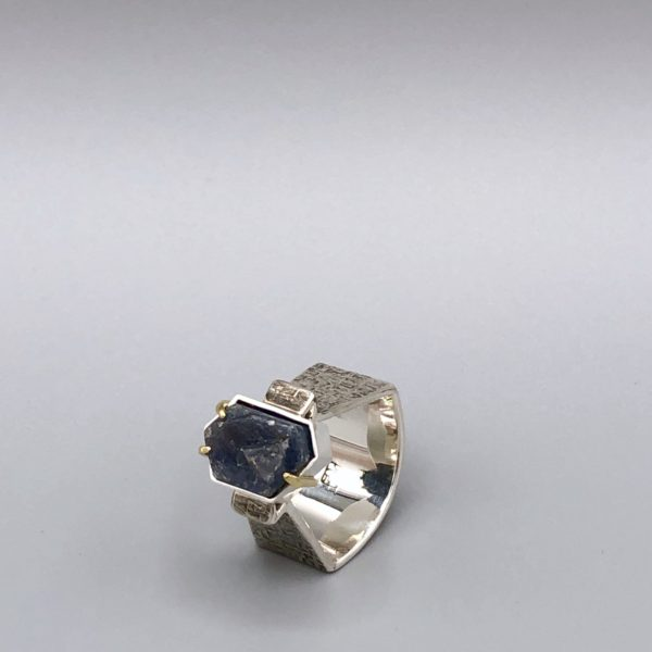 Record Keeper Ring Sterling 18K natural record keeper sapphire) by Kristin Mitsu Shiga