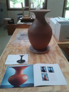 Freshly completed pot by Erik Wold inspired by the work of Magdalene Odundo