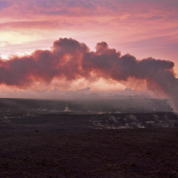 A Red Sunrise Bathes Kilauea Crater Light