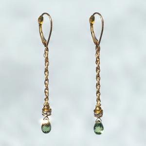 Green Flash Sapphire Drop Earring