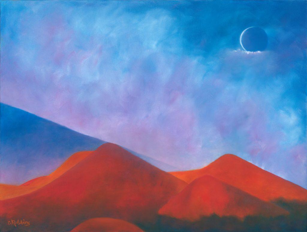 Moonrise and Mauna Kea, Print by Catherine Robbins